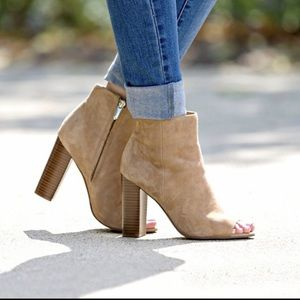 Sam Edelman Yarin booties tan peep toe heel brown